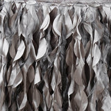 14ft Enchanting Curly Willow Taffeta Table Skirt - Silver