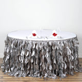 21ft Enchanting Curly Willow Taffeta Table Skirt - Silver