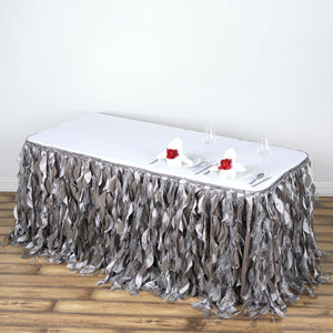 21FT Silver Curly Willow Taffeta Table Skirt