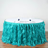 17FT Turquoise Curly Willow Taffeta Table Skirt
