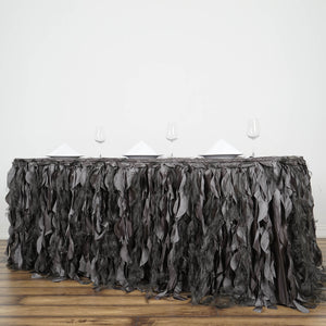 14FT Charcoal Grey Curly Willow Taffeta Table Skirt