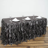 21FT Wholesale Charcoal Grey Enchanting Pleated Curly Willow Taffeta Wedding Party Table Skirt