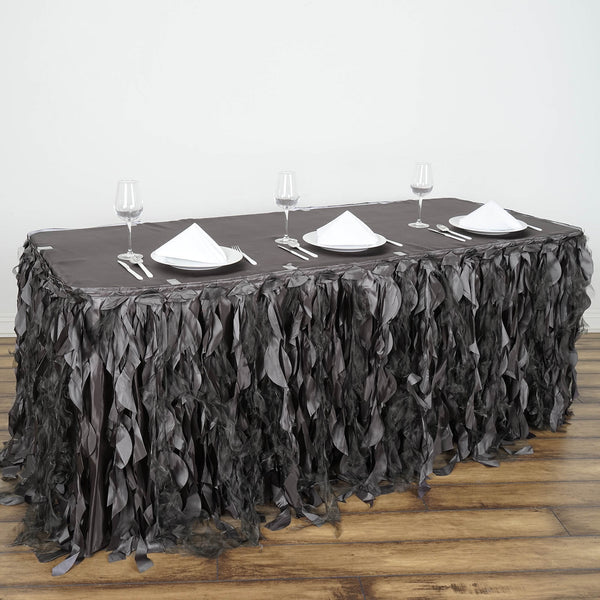 21FT Wholesale Charcoal Gray Enchanting Pleated Curly Willow Taffeta Wedding Party Table Skirt - Clearance SALE
