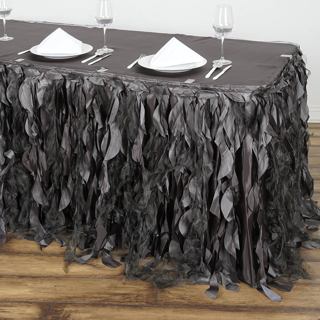 fc55ecd1ec 21FT Charcoal Grey Curly Willow Taffeta Table Skirt | Tablecloths ...