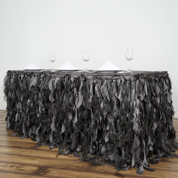 21FT Charcoal Gray Curly Willow Taffeta Table Skirt - Clearance SALE