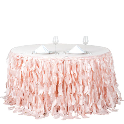 17FT Rose Gold | Blush Curly Willow Taffeta Table Skirt