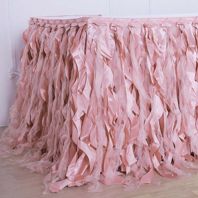 17FT Dusty Rose Curly Willow Taffeta Table Skirt