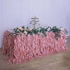 21FT Dusty Rose Curly Willow Taffeta Table Skirt