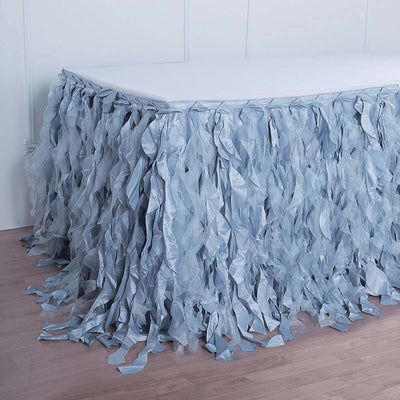 14FT Dusty Blue Curly Willow Taffeta Table Skirt