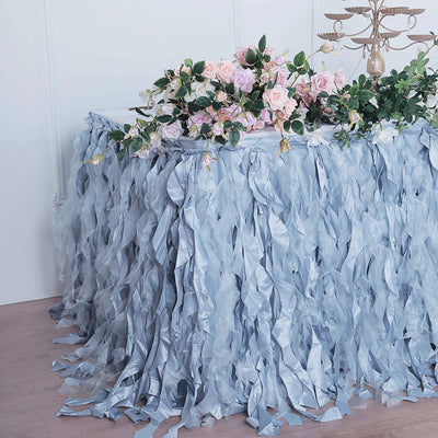 21FT Dusty Blue Curly Willow Taffeta Table Skirt