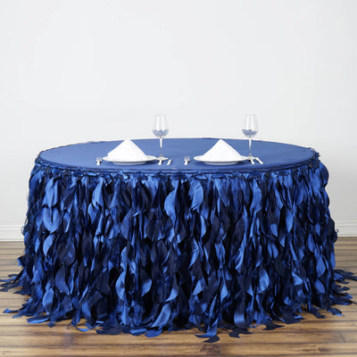 21FT Navy Blue Curly Willow Taffeta Table Skirt