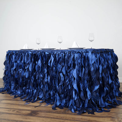 17FT Navy Blue Curly Willow Taffeta Table Skirt