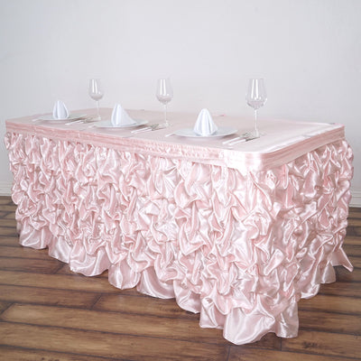 21FT Blush | Rose Gold Chambury Casa Pleated Satin Lamour Table Skirt