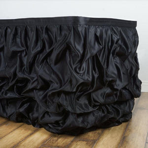 17 FT Black Chambury Casa Pleated Satin Lamour Table Skirt