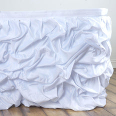 21FT White Chambury Casa Pleated Satin Lamour Table Skirt - Clearance SALE