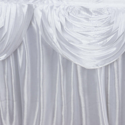 White Double Drape Table Skirt / Satin - 17'