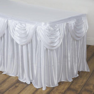 17FT White Pleated Satin Double Drape Table Skirt