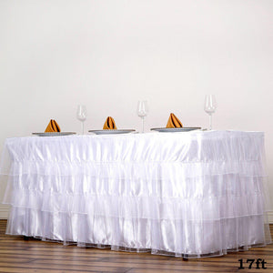 3 Layered Organza Pleated Table Skirt With Satin Bottom - White - 17 FT