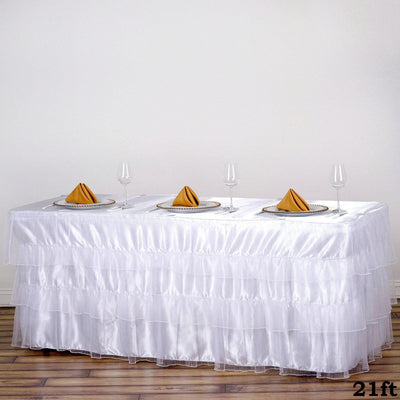 3 Layered Organza Pleated Table Skirt With Satin Bottom - White - 21 FT