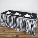 Checkered Table Skirt | 14FT | White/Black | Buffalo Plaid Gingham Polyester Table Skirts
