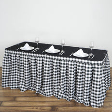 Checkered Table Skirt | 21FT | White/Black | Buffalo Plaid Gingham Polyester Table Skirts