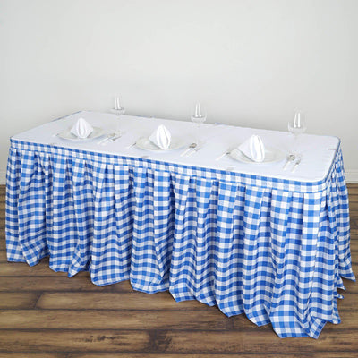 Checkered Table Skirt | 14FT | White/Blue | Buffalo Plaid Gingham Polyester Table Skirts
