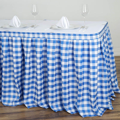 Checkered Table Skirt | 21FT | White/Blue | Buffalo Plaid Gingham Polyester Table Skirts