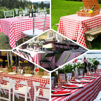 Checkered Table Skirt | 21FT | White/Red | Buffalo Plaid Gingham Polyester Table Skirts