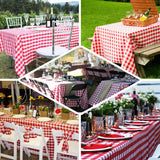Checkered Table Skirt | 17FT | White/Red | Buffalo Plaid Gingham Polyester Table Skirts