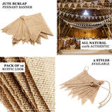 14FT Natural Tone Jute Burlap Pennant Banner With Lace Trimmings