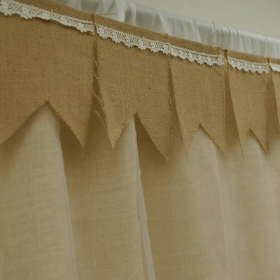 Burlap Pennant Banner w/ Lace - 14FT Natural