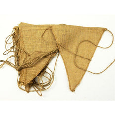 All Natural Jute Burlap Triangle Pennant 12 pcs - Natural#whtbkgd