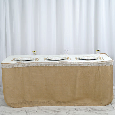 17ft Natural Jute Burlap Table Skirt