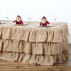 14ft Natural 3 Tier Rustic Ruffled Burlap Table Skirt