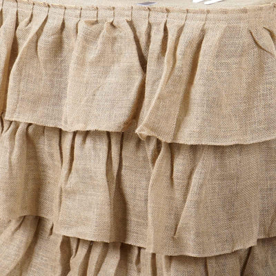 3 Tier Rustic Elegant Ruffled Burlap Table Skirt - 17 Ft