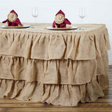 17ft Natural 3 Tier Rustic Ruffled Burlap Table Skirt