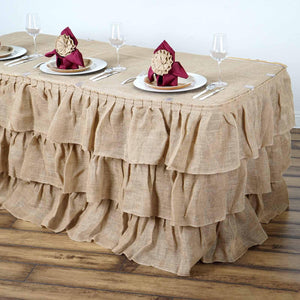 21ft Wholesale Natural 3 Tier Rustic Elegant Ruffled Burlap Table Skirt