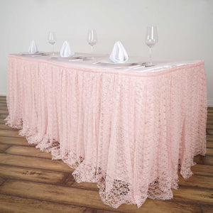 21FT Blush | Rose Gold Premium Pleated Lace Table Skirt
