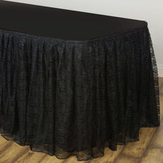 17FT Black Premium Pleated Lace Table Skirt