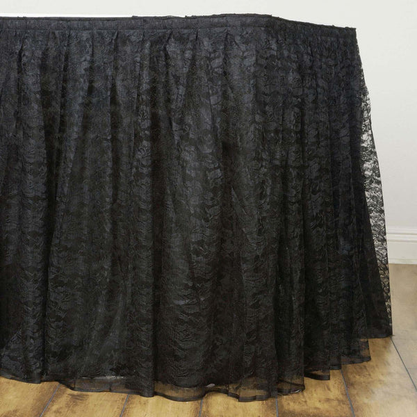 21FT Black Premium Pleated Lace Table Skirt