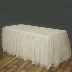 14FT Ivory Premium Pleated Lace Table Skirt