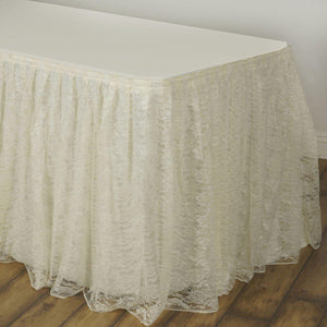 17FT Ivory Premium Pleated Lace Table Skirt