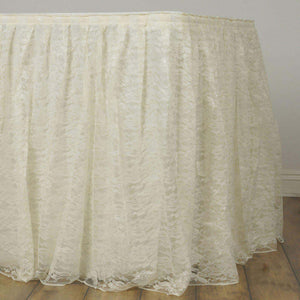 21FT Ivory Premium Pleated Lace Table Skirt