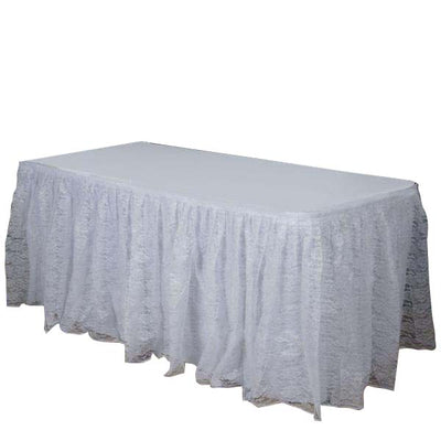 14FT White Premium Pleated Lace Table Skirt