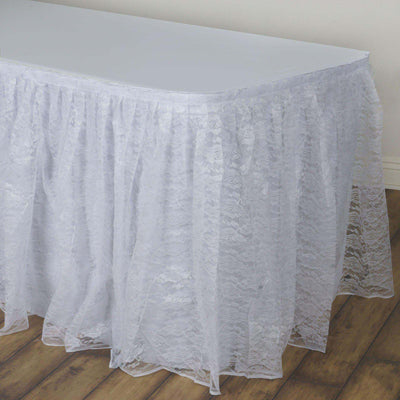 17FT White Premium Pleated Lace Table Skirt