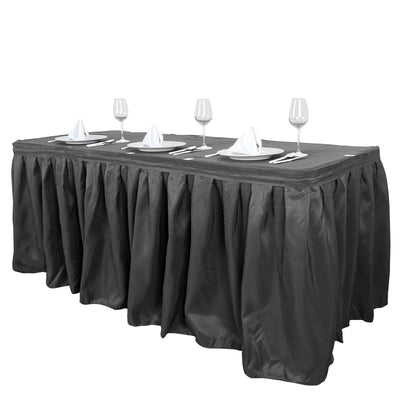 14FT Charcoal Gray Pleated Polyester Table Skirt