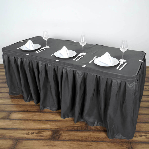 14FT Wholesale Charcoal Gray Pleated Polyester Table Skirt