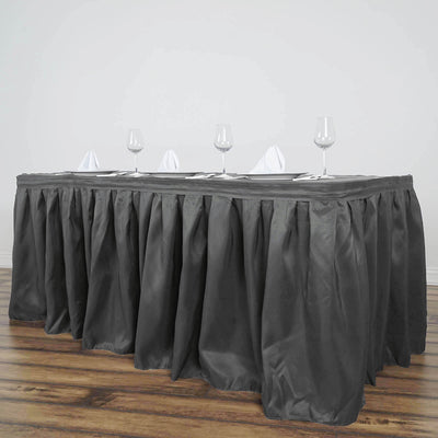 17FT Wholesale Charcoal Grey Pleated Polyester Table Skirt