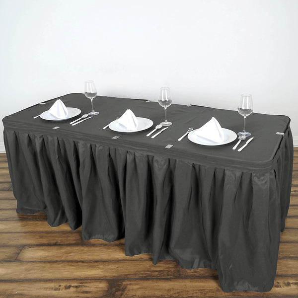 6c6ba3e6c87b 21FT Wholesale Charcoal Grey Pleated Polyester Table Skirt