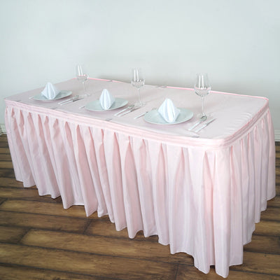 21FT Rose Gold | Blush Pleated Polyester Table Skirt